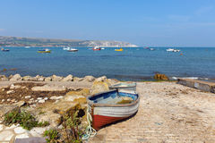 Swanage Dorset England UK with boat sea and coast in summer Stock Photos