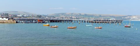 Swanage Dorset England UK pier sea and coast panorama Stock Images