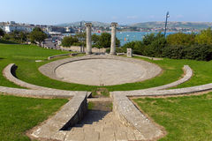 Swanage Dorset England UK Prince Albert Gardens with amphitheatre and view over town Royalty Free Stock Photography