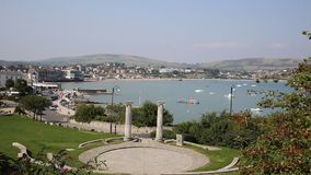 Swanage Dorset England UK with town sea and coast stock footage