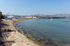 Swanage harbour and jetty Dorset England UK with sea and coast Stock Photos
