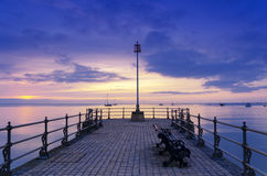 Swanage Pier. Sunrise at the Banjo Pier at Swanage Stock Photography