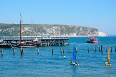 Swanage pier and cliffs. Stock Image