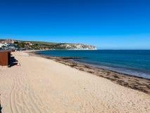 Swanage strand Dorset England UK royaltyfri bild