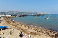 Swanagehaven en pier Dorset Engeland het UK met overzees en kust Royalty-vrije Stock Fotografie