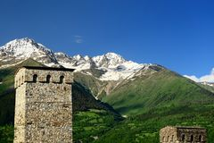 Swanetia mountain region in Georgia. Watchtowers in villages being in Georgia in the Swaneti area in  the mountains of the Caucasus, UNESCO World Heritage Sites Stock Images