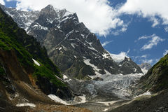 Swanetia region in Georgia. View on the Chalaadi glacier in the mountains of the Caucasus in surroundings of the Mestia town. Georgia Stock Photography