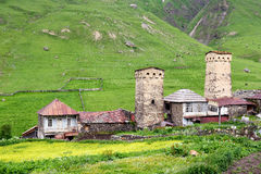 Swanetia region in Georgia. Watchtowers in villages being in Georgia in the Swaneti area in  the mountains of the Caucasus, UNESCO World Heritage Sites Royalty Free Stock Image