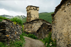 Swanetia region in Georgia. Watchtowers in villages being in Georgia in the Swaneti area in  the mountains of the Caucasus, UNESCO World Heritage Sites Stock Photo