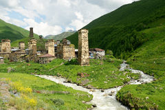 Swanetia region in Georgia. Watchtowers in villages being in Georgia in the Swaneti area in  the mountains of the Caucasus, UNESCO World Heritage Sites Stock Photography