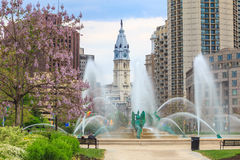 Swann Memorial Fountain With City Hall In The Background Royalty Free Stock Images