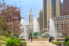 Swann Memorial Fountain With City Hall In The Background Stock Photo