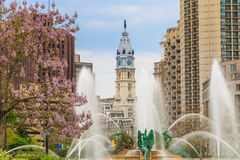 Swann Memorial Fountain With City Hall In The Background Stock Images