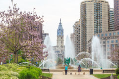 Swann Memorial Fountain With City Hall In The Background Stock Photography