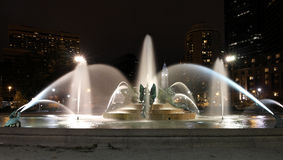 Swann memorial fountain in downtown Philadelphia at night Stock Images