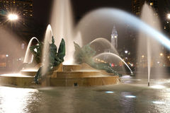 Swann memorial fountain in downtown Philadelphia at night Stock Photos