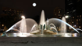 Swann memorial fountain in downtown Philadelphia at night. Swann memorial fountain downtown Philadelphia at night Royalty Free Stock Image
