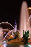 Swann Memorial Fountain at night. With City Hall on the background Stock Image