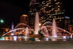 Swann Memorial Fountain at night. With City Hall on the background Royalty Free Stock Photos