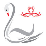 Swans. Illustration art of a swans with isolated background Royalty Free Stock Image
