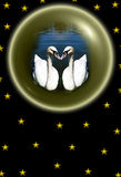 Swans. A couple of white swans in the glass sphere Royalty Free Stock Photos