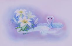 Swans and flowers Royalty Free Stock Photo