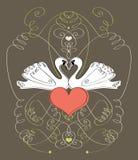 Swans Illustration Royalty Free Stock Photo