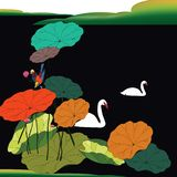 Swans on a lake with lotus leafs vector illustration