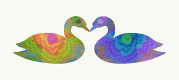 Swans in love with an abstract pattern.  Stock Photography