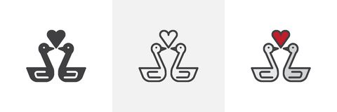 Swans in love with heart different style icons. Swans in love with heart icon. Line, solid and filled outline colorful version, outline and filled vector sign stock illustration