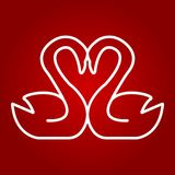 Swans in love line icon, valentines day. And romantic, heart shape sign vector graphics, a linear pattern on a red background, eps 10 Royalty Free Stock Photography