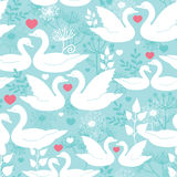 Swans in love vector seamless pattern background. With hand drawn elements Royalty Free Stock Images