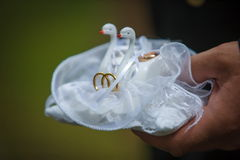 Swans pillow wedding love rings white decoration
