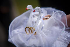 Swans pillow wedding love rings white decoration. Dove vird hobody ribbon silk Stock Photography