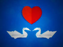 Swans and red heart Stock Images