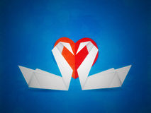 Swans and red heart Royalty Free Stock Photography