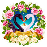 Swans, roses and hearts Stock Photo