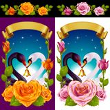 Swans and Roses set Royalty Free Stock Images