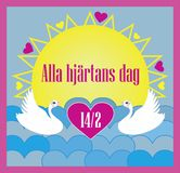 Vector illustration for Valentine`s Day with Swedish text for the event; Alla hjärtans dag. royalty free illustration