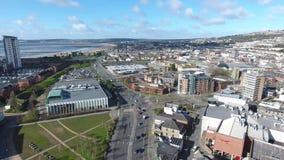 Swansea City och kustlinje lager videofilmer