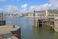 Swansea Harbour. Entrance to Swansea Harbour, Wales Royalty Free Stock Photos