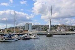 Swansea harbour, Wales. Pedestrian bridge in Swansea harbor Stock Photo