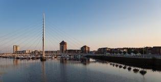 Swansea marina i milenium most Fotografia Royalty Free