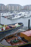 Swansea Marina in the rain. Royalty Free Stock Photo
