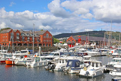 Swansea Marina. Yachts moored in Swansea Marina Stock Photo