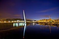Swansea's sail bridge. Night shot of swansea's sail bridge Royalty Free Stock Photos