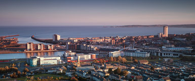 Swansea-Stadt Südwales stockbild