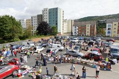 Car Boot Sale. Swansea, UK: August 13, 2017: A car boot sale where local people sell unwanted domestic items or clothes and people buy a secondhand bargain stock image