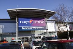 Currys and PC World. Swansea, UK: December 28, 2016: Currys and PC World Store incorporating a Carphone Warehouse. Building exterior of a computer hardware store Stock Photography