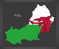 Swansea Wales map with Welsh national flag Royalty Free Stock Images
